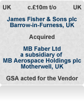 MB Faber (now JF Faber) is a nuclear and aerospace design engineering services business having key contracts with Sellafield, Airbus and Rolls-Royce, etc. International auction process. MB Aerospace Holdings is development capital backed.