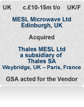 MESL Microwave (formerly Thales MESL) is an independent UK manufacturer of microwave components and sub-assemblies for global telecom and defence markets. Sold to private investors after an international auction.