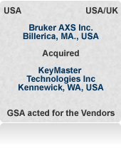 Acted for London-based VC shareholders of KeyMaster Technologies Inc. (WA, USA) in sale of world No.3 handheld X-ray instrument company to Bruker (MA, USA) at a 'strategic' price. 10 weeks from first offer to completion in a multinational process.