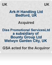 Advised Ark-H Handling Ltd on the possible purchase of several targets before acquiring Diss Promotional Services, the fulfilment business of PE backed Bounty Group Ltd.