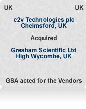 VC backed Gresham Scientific Ltd (now e2v Scientific Instruments) is a world-leading X-ray sensor system and detector business. Sold at a multiple of twice sales in a process that attracted global interest.